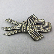Carved Art Deco Black Celluloid Rhinestone Pin c1930