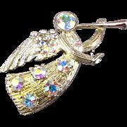 Vintage Eisenberg Ice Rhinestone Angel Pin Trumpeter
