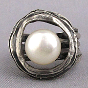 Signed Modernist Ring Mabe Pearl Floats in Sterling Silver