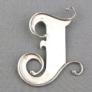 Big Sterling Silver Fancy Letter ~ J ~ Pendant Initial