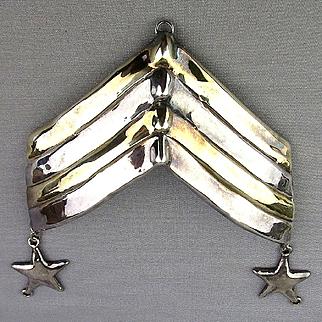 Big Sterling Silver Military Stripes Pin Israeli Lost Wax Casting