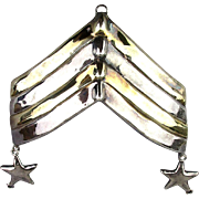 Big Sterling Silver Military Stripes Pin Israeli Lost Wax Casting