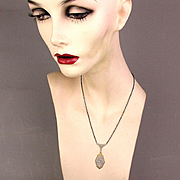 1920s Art Deco Sterling Silver Filigree Necklace w/ Gilt