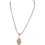 1920s Art Deco Sterling Silver Filigree Necklace w/ Gilt
