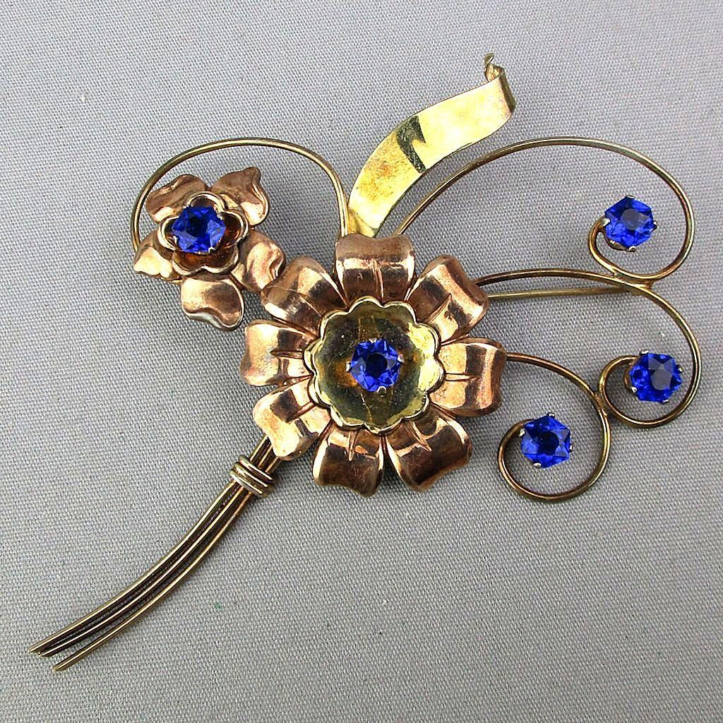 1930s Harry Iskin Gold-Fill on Sterling Silver Pin Big Floral Rhinestone