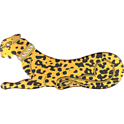 Vintage Carved Lucite Celluloid Plastic Leopard Cat Pin Brooch