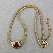 Designer Avon Mesh Gilt Sterling Silver Necklace w/ Orange Garnet