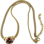 Designer Avon Mesh Gilt Sterling Silver Necklace w/ Orange Garnet
