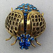 Vintage Winged Beetle Bug Pin Brooch w/ Blue Rhinestones