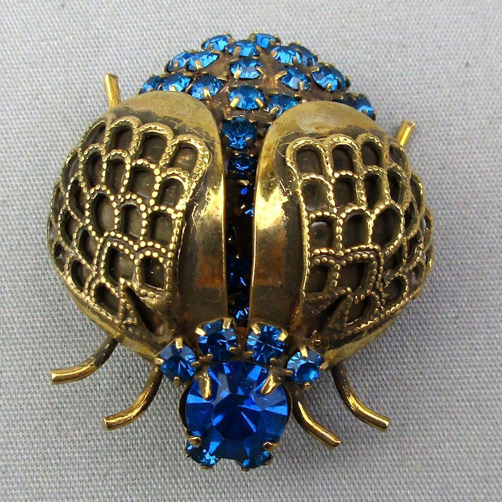 Vintage Winged Beetle Bug Pin Brooch w/ Blue Rhinestones
