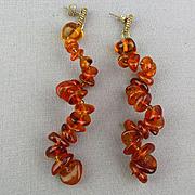 Baltic Amber Bead Corkscrew Dangle Earrings - Pierced