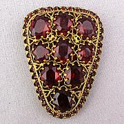Great Czech Chunky Art Deco Rhinestone Clip Pin