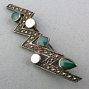 Sterling Silver Bolt of Lightening Pin w/ Marcasite / Gems