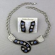 Modernist 1980s Necklace Earrings Set Rhinestones Enamel Unworn