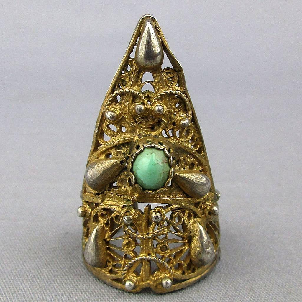 Old 1920s Chinese Sterling Silver Nail Ring Gilded Filigree - Turquoise