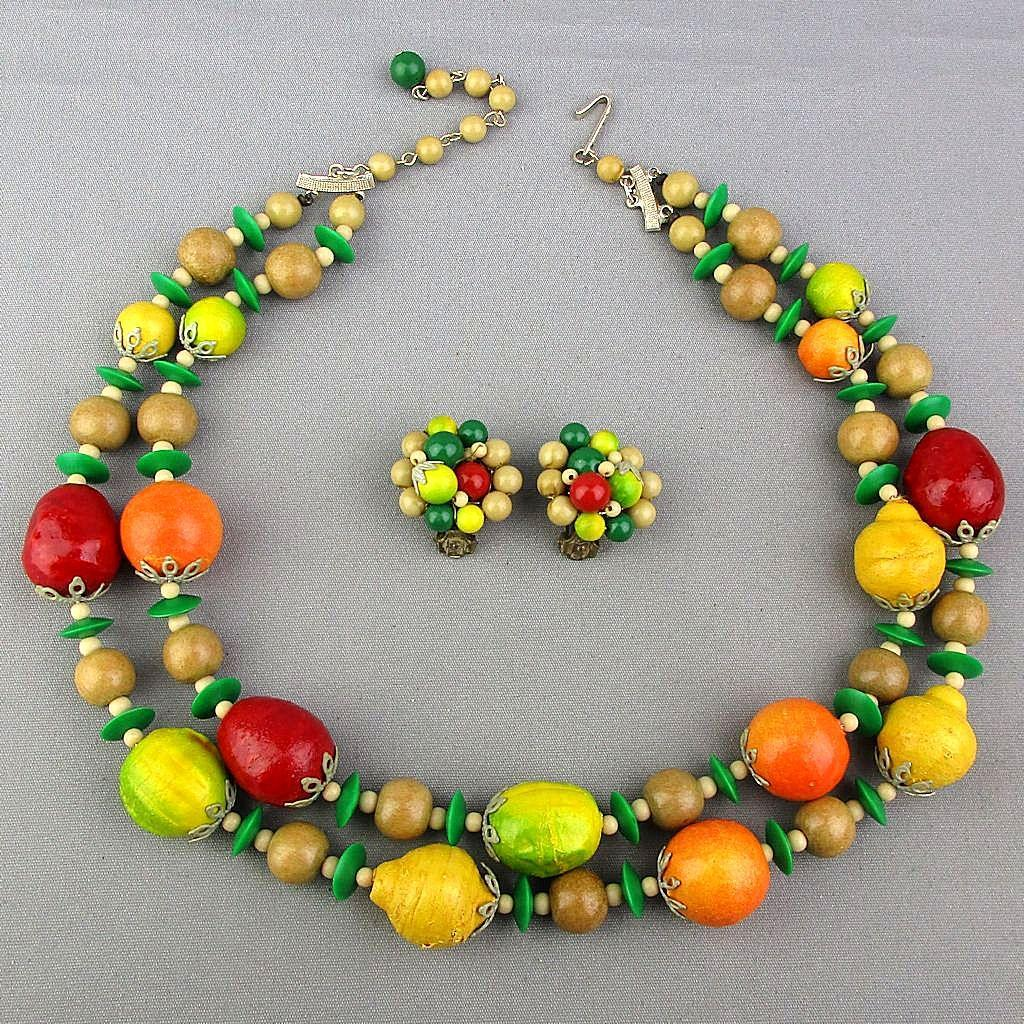 Colorful 1950s Japan Fruit Salad Necklace - Earrings Set