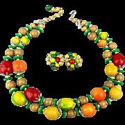 Colorful 1950s Japan Fruit Salad Necklace - Earrings Set