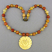 Vintage Agate Bead Necklace w/ Carved Bone Flower