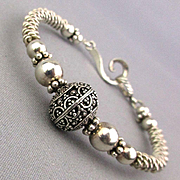Vintage Sterling Silver Intricate Hand-Crafted Bracelet
