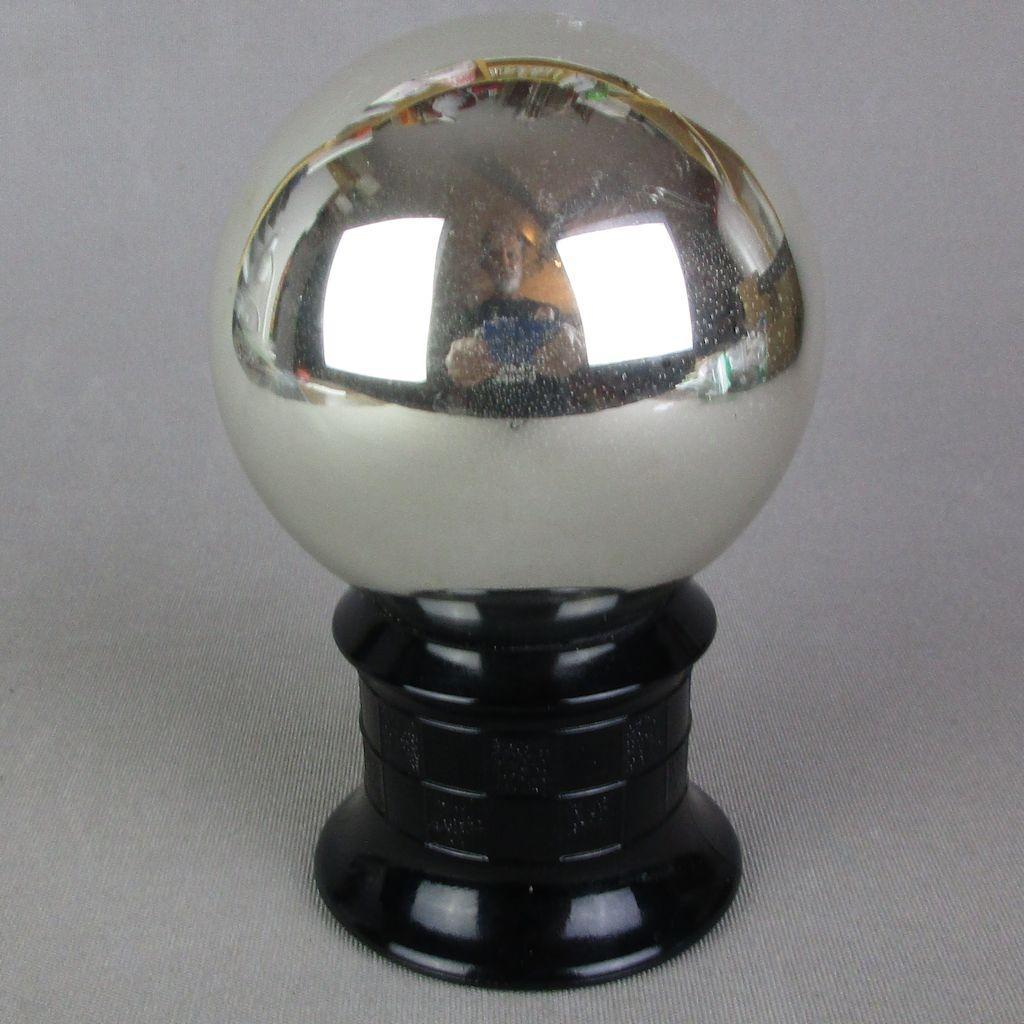 Rare Art Deco Mercury Glass Butler's Ball Mirrored Spy Glass