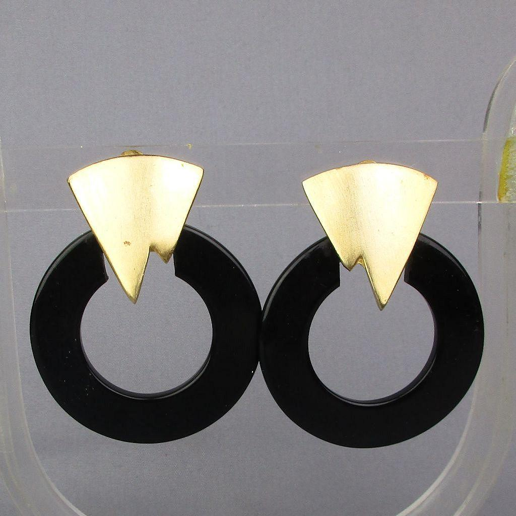 Signed LES BERNARD Black - Gold Clip Earrings
