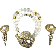 Vintage Bracelet Earrings Set Jeweled Shells - Beads