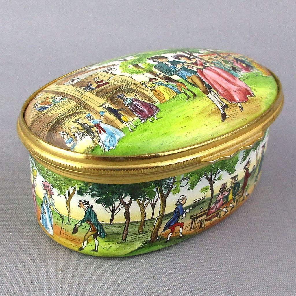 Halcyon Days Enamels Trinket Box - Vauxhall Gardens Ltd. Ed. Percy Shelley