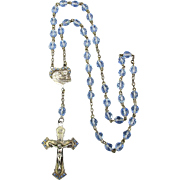 Vintage Chapel Sterling Silver Cross & Medal Crystal Rosary Necklace
