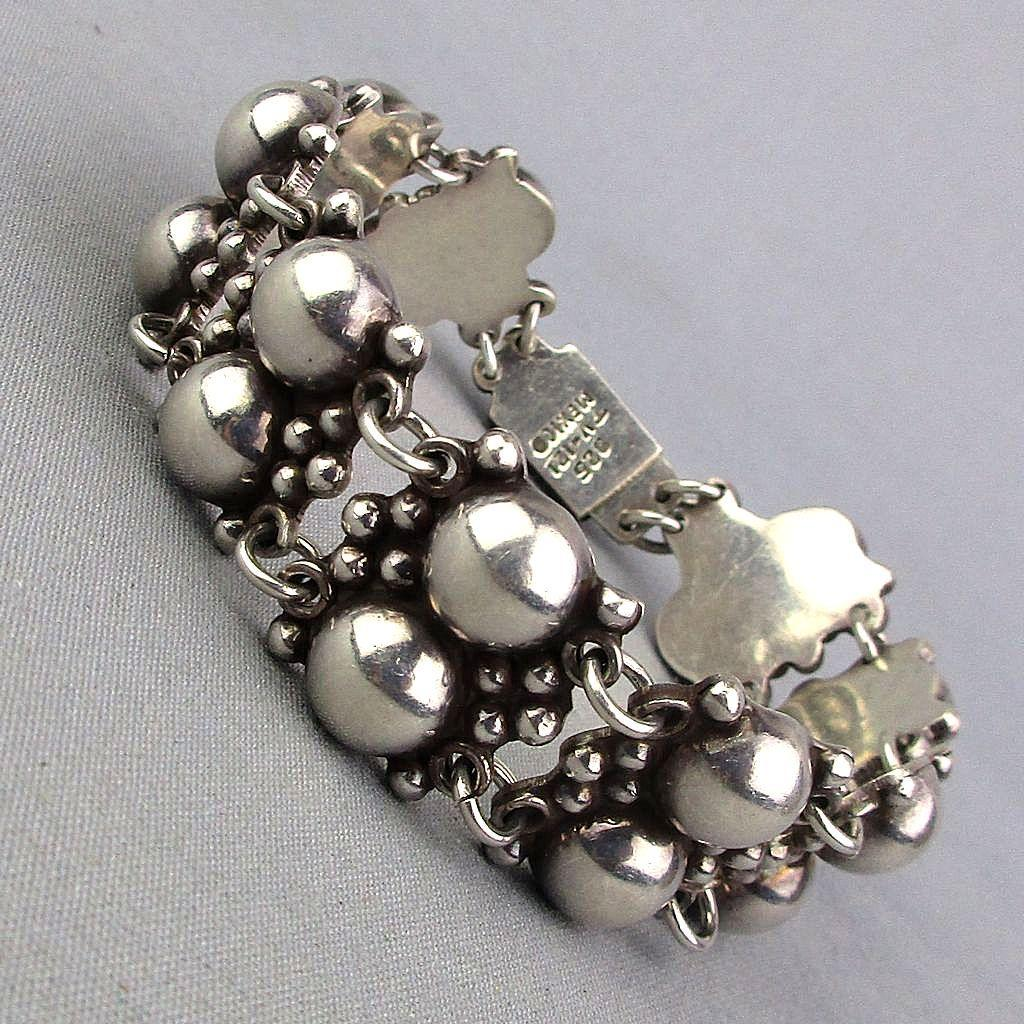 Vintage Mexican Sterling Silver Bracelet Double Domes Taxco 925