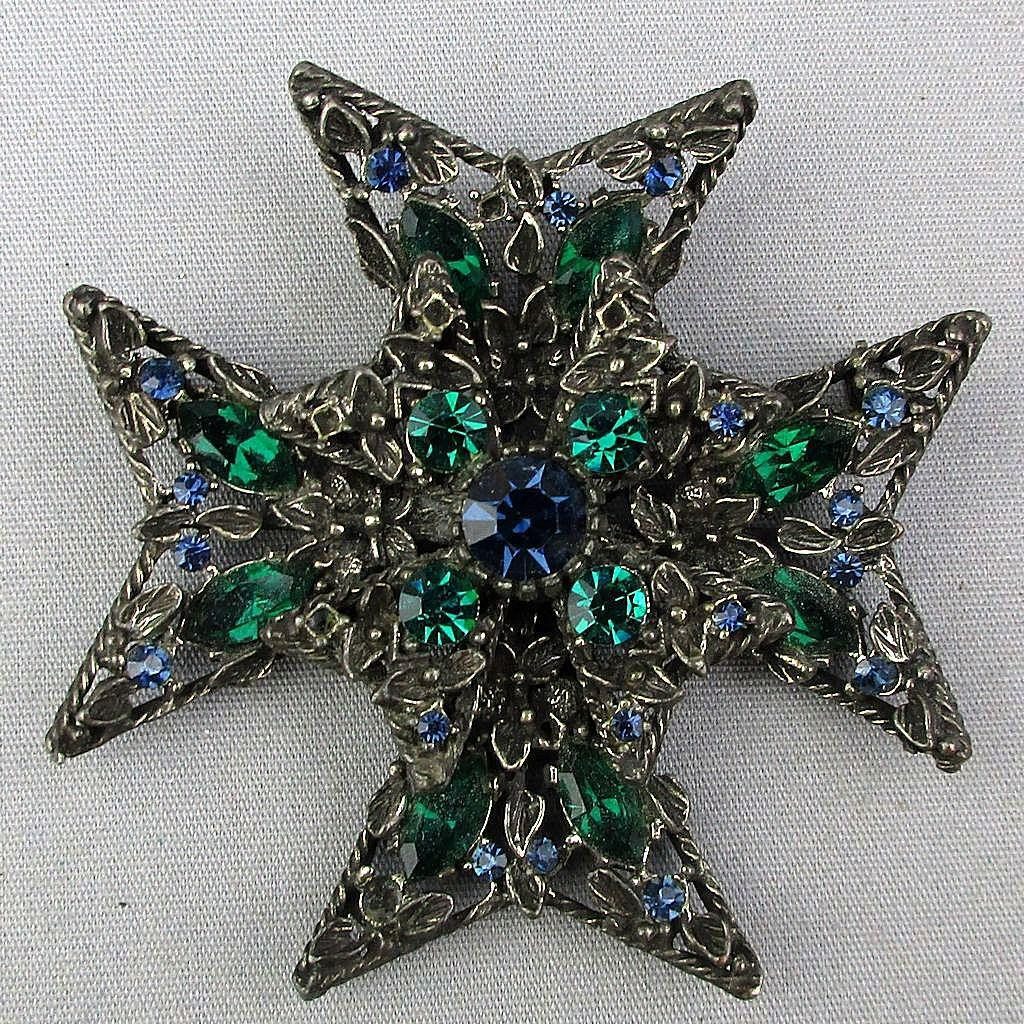 Vintage SELINI Maltese Cross Faux Emerald Rhinestones in Black