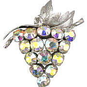 Vintage Signed Sterling Silver GRAPES Pin Aurora Borealis Rhinestones