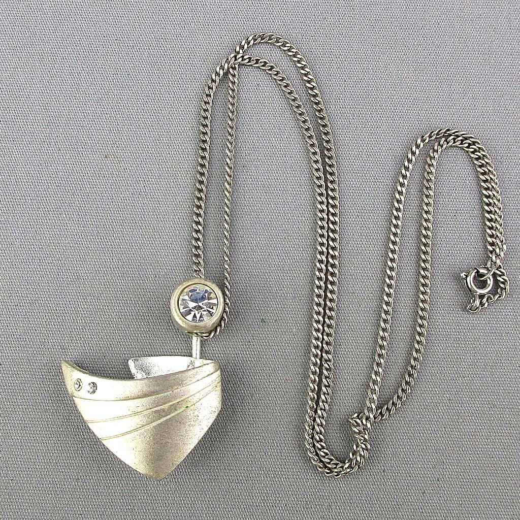 Scandinavian Sterling Silver Pendant Necklace - Stylized Boat w/ Periscope