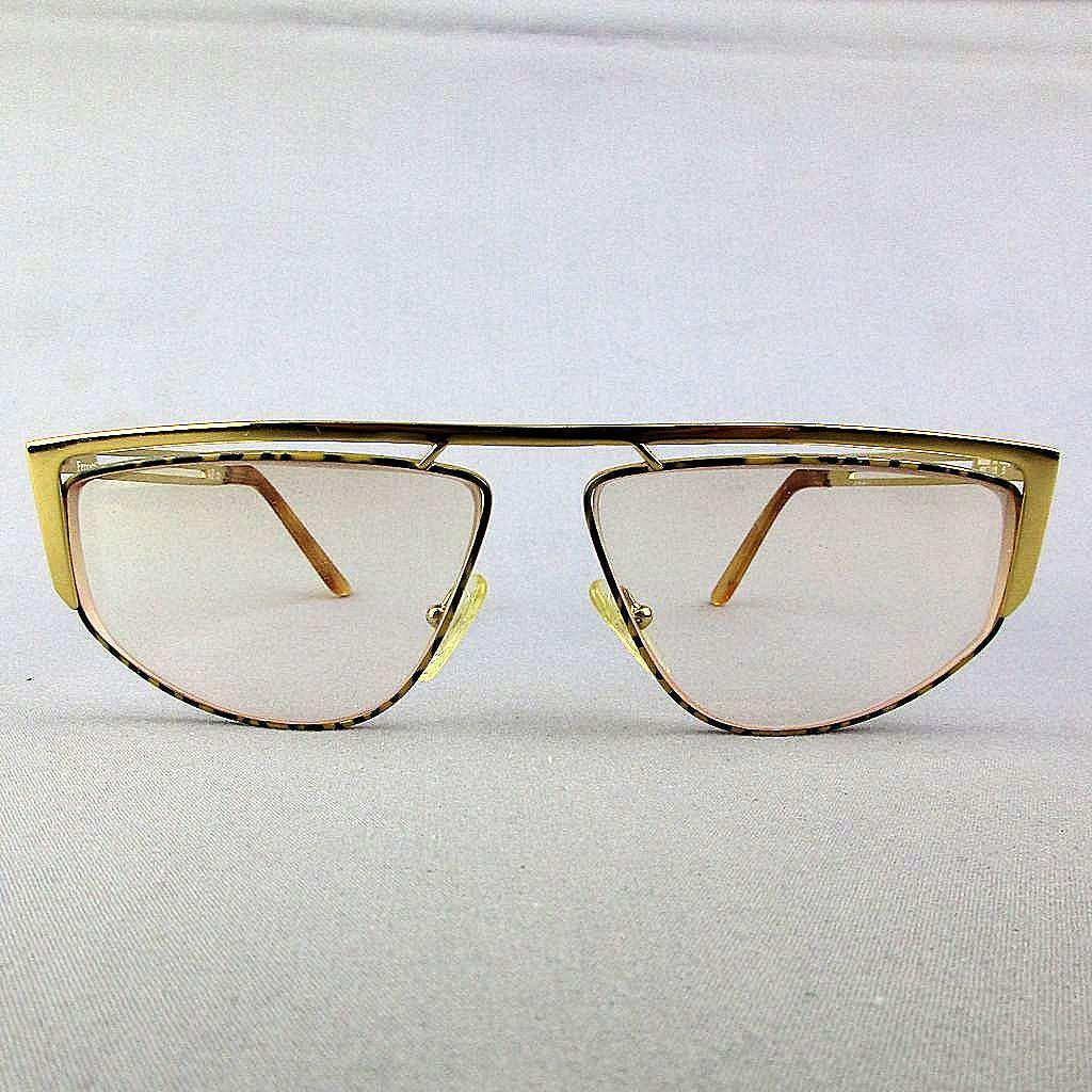 Vintage Alberta Ferretti Italian Gold-Tone Metal Eyeglasses Frames