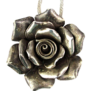 Handwrought Sterling Silver Rose Pendant on Tiffany Chain Necklace