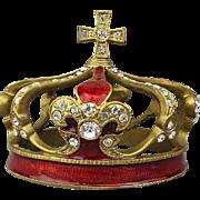 Vintage Enamel Rhinestone Miniature Religious Crown Tiara Santos / Display