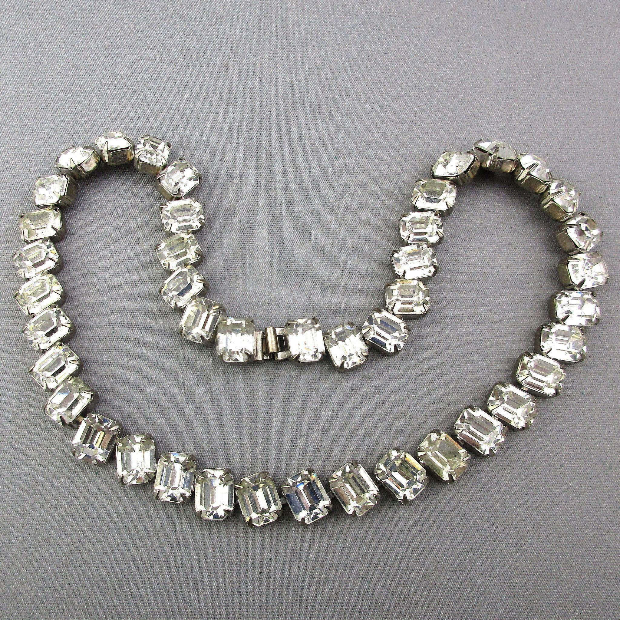 Vintage Kirk's Folly Chunky Rhinestone Hollywood Style Necklace