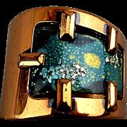 Modernist Matisse Wide Copper Cuff Bracelet Enamel