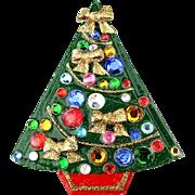 Awww...A Homemade Vintage Christmas Tree Pin w/ Rhinestones