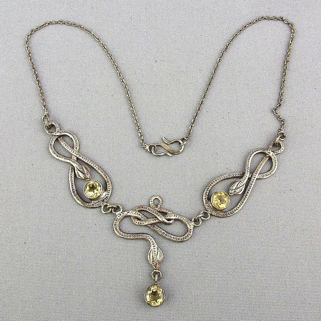 Art Nouveau Revival Sterling Silver Snake Necklace