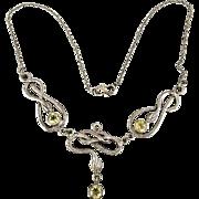 Art Nouveau Revival Sterling Silver Snake Necklace
