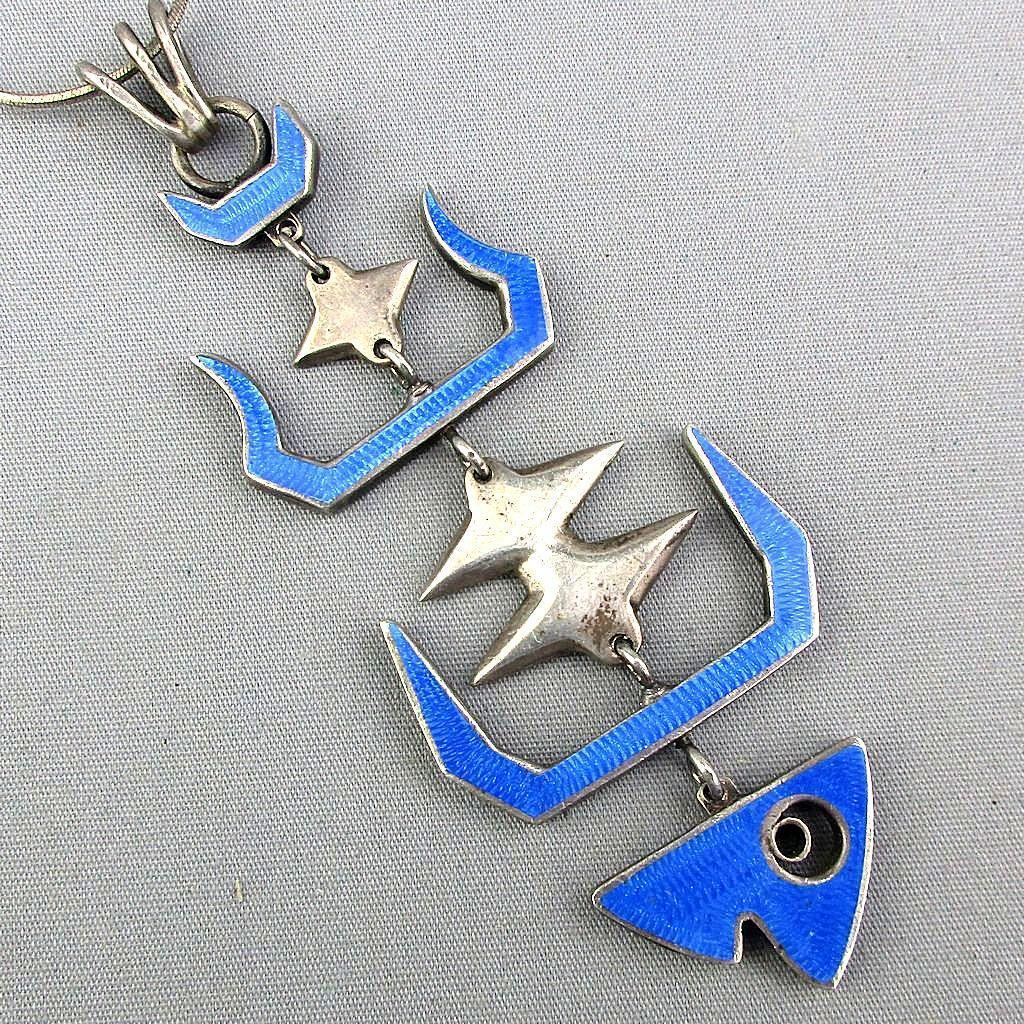 SOLD TO M.P. - Modernist Taxco Sterling Silver Guilloche Enamel Fish Pendant Necklace Articulated