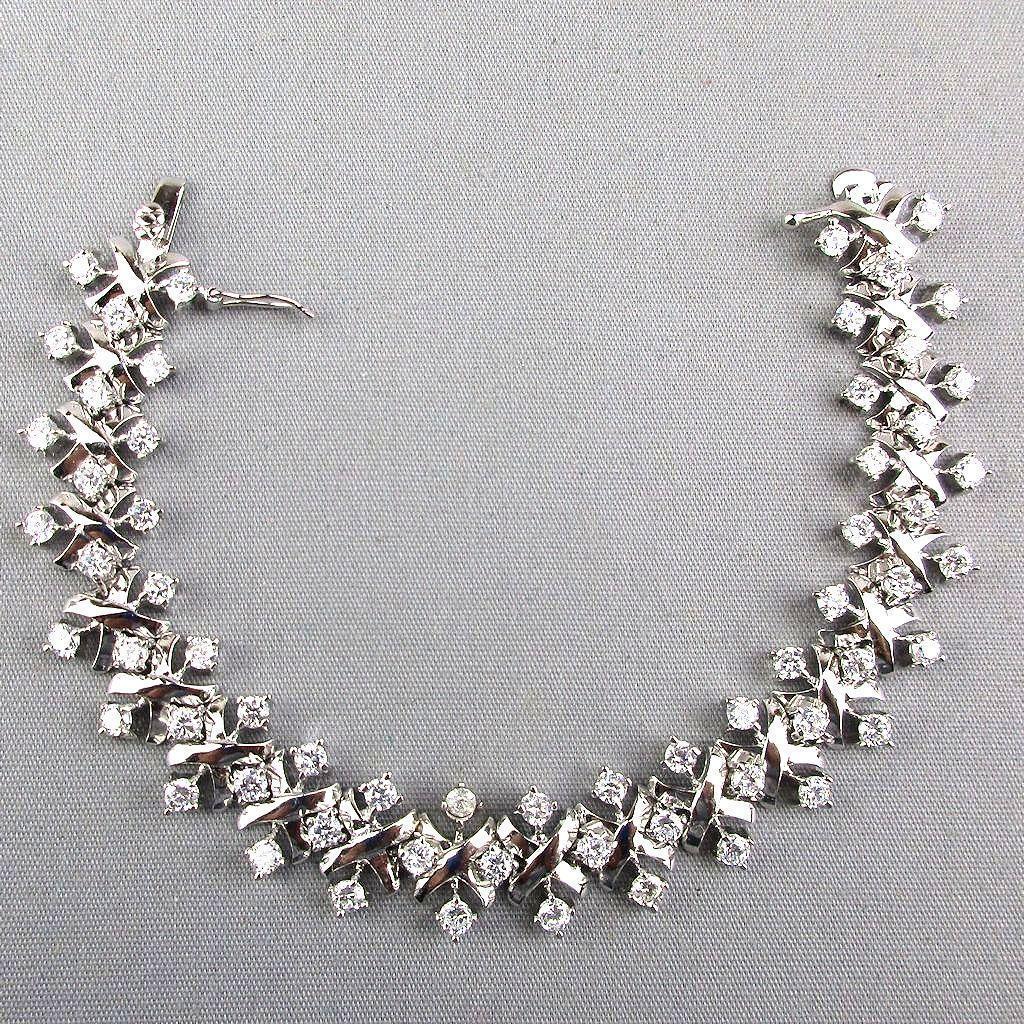 Vintage Sterling Silver Crystal Rhinestone Bracelet