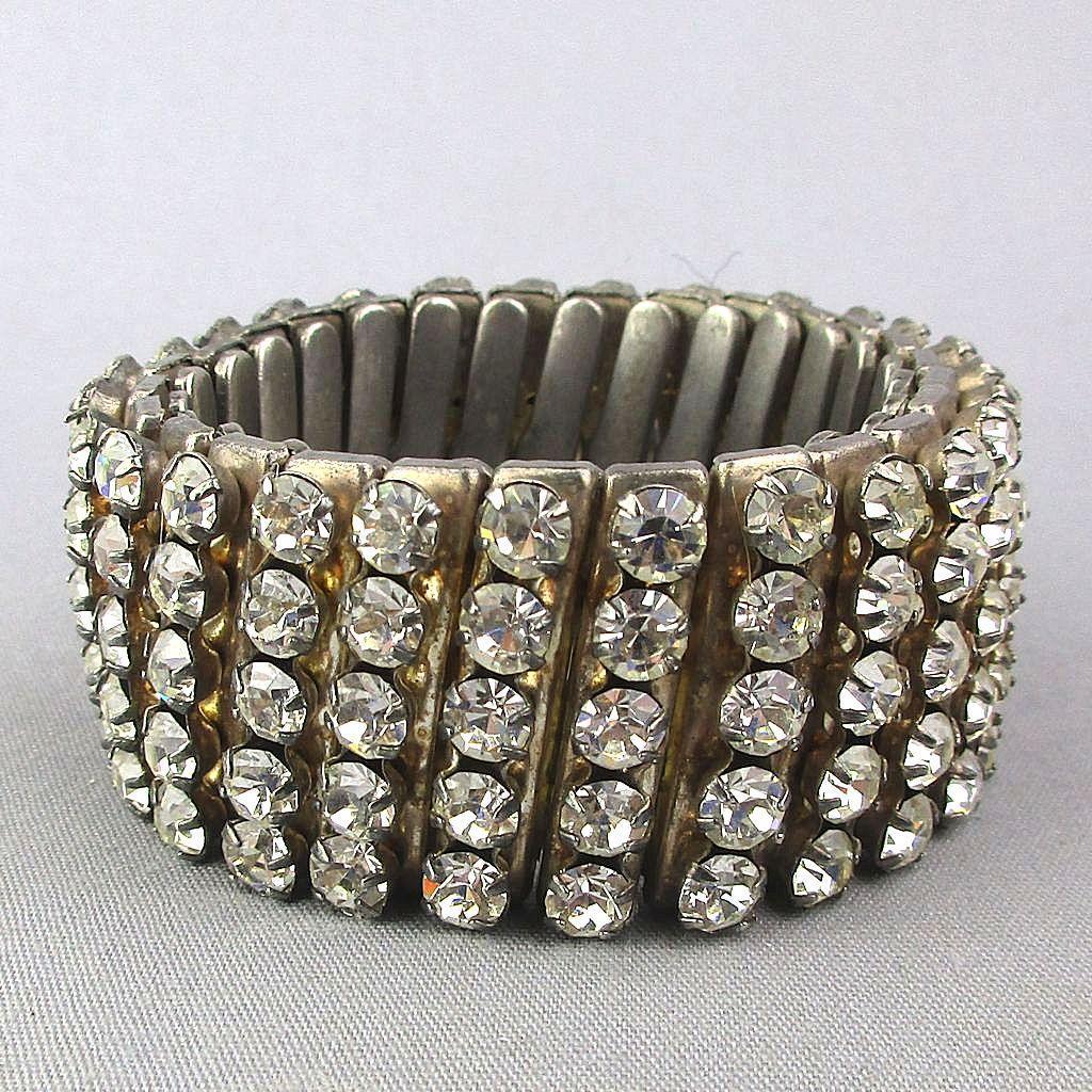 Vintage 5 Row Rhinestone Expansion Bracelet c1940s Sparkler