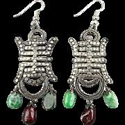 Vintage Chinese Silvered Earrings w/ Jade Drops - Shou Symbol