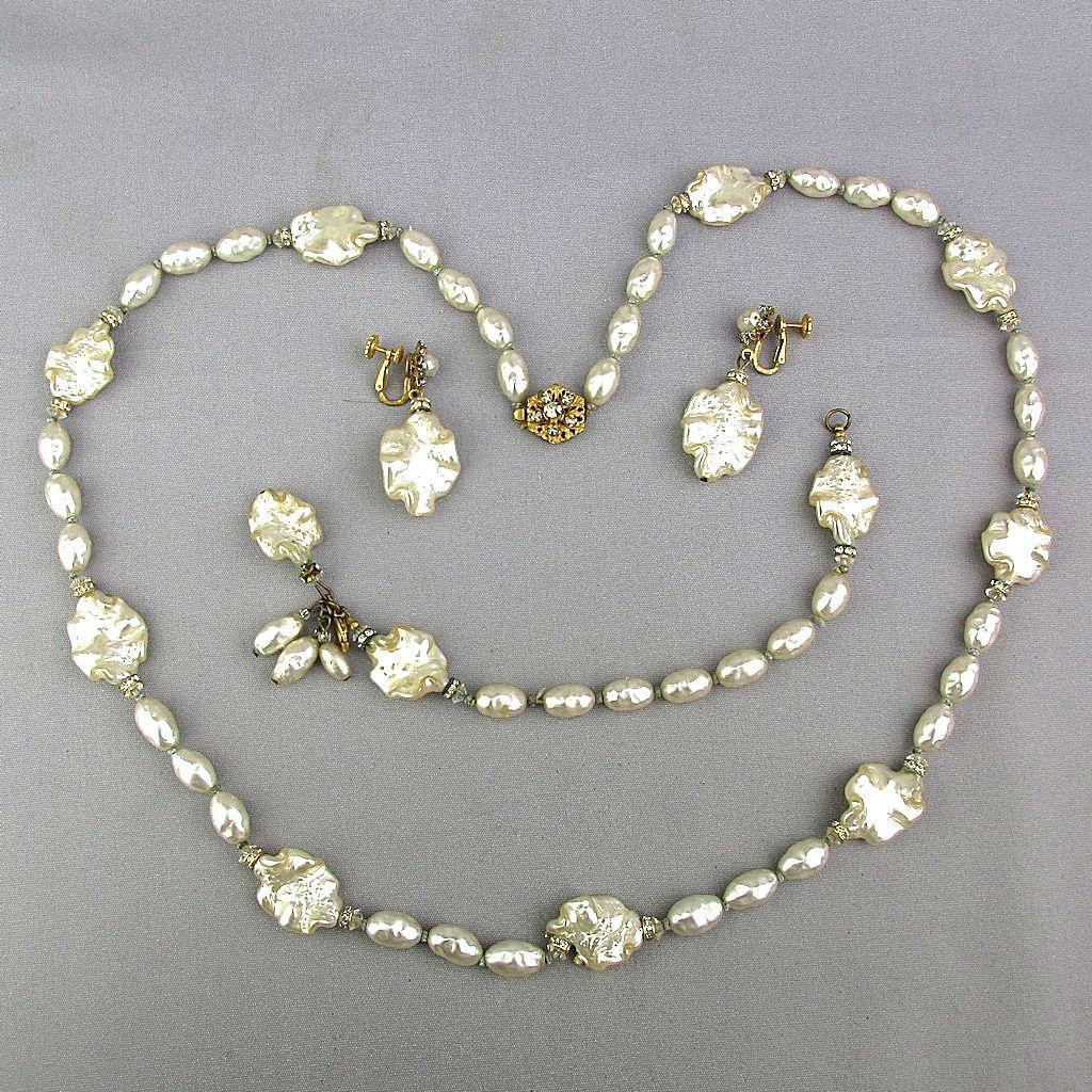 Vintage Miriam Haskell Parure Necklace Bracelet Earrings Niki Glass Pearls