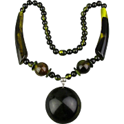 Big Bold Lucite Necklace Faux Horn Beads