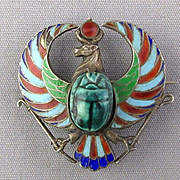 Victorian 800 Silver Egyptian Enamel Watch Pin w/ Scarab