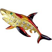 Vintage Enamel Rhinestone Pin - Big Shark Fish Figural