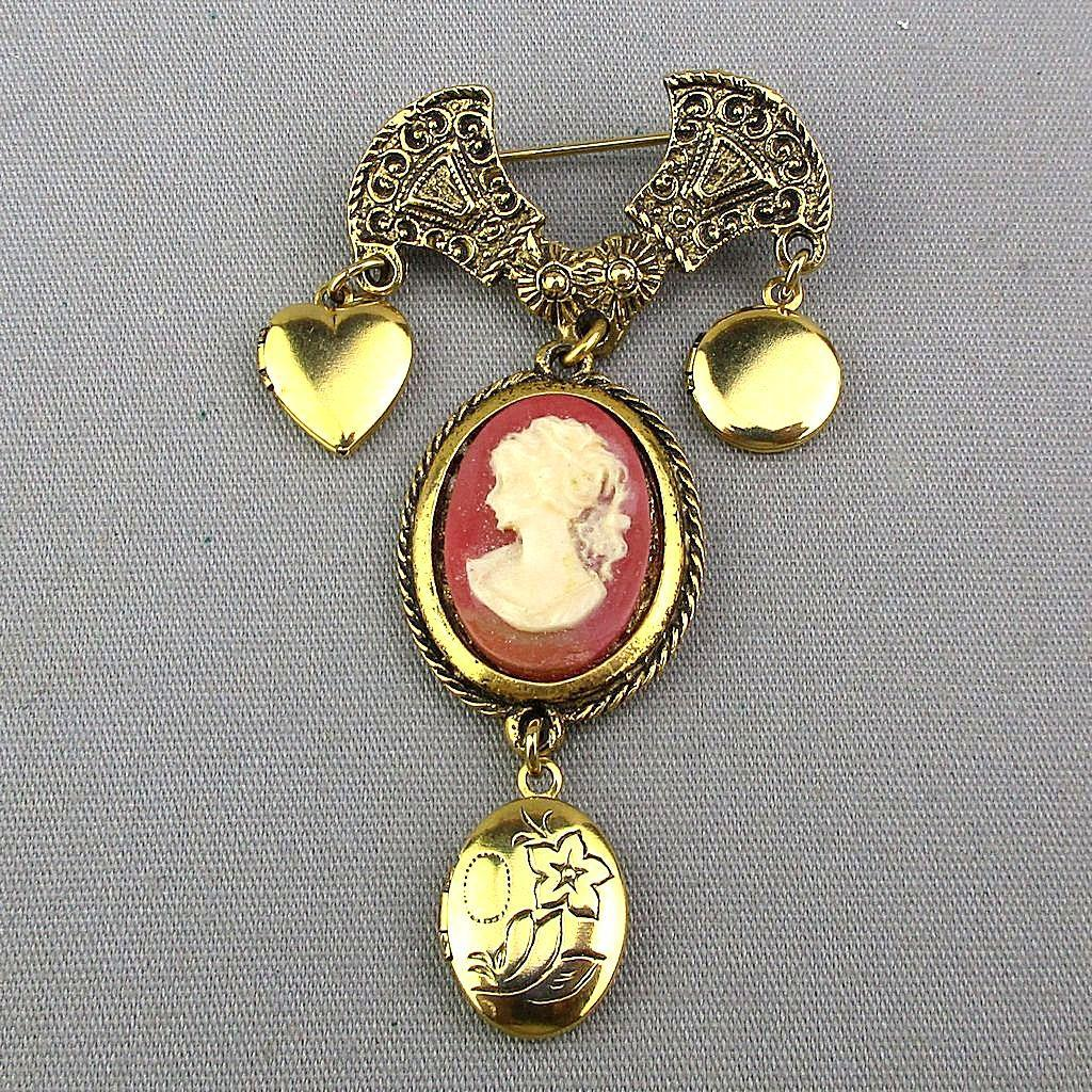 Vintage Cameo Pin w/ 3 Locket Charm Dangles