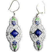 Art Deco Rhodium-Plated Filigree Earrings w/ Enamel